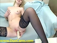Katerine4u drills her pussy in stockings